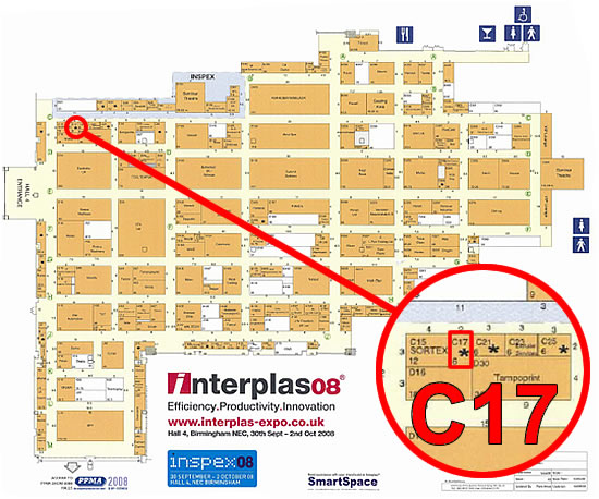 Map showing Gammadot's stand at Interplas 2008